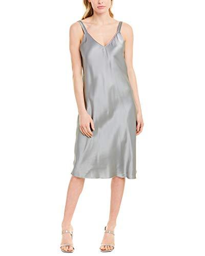 Helmut Lang Womens Double Strap Satin Slip Dress, 10, Grey image 1