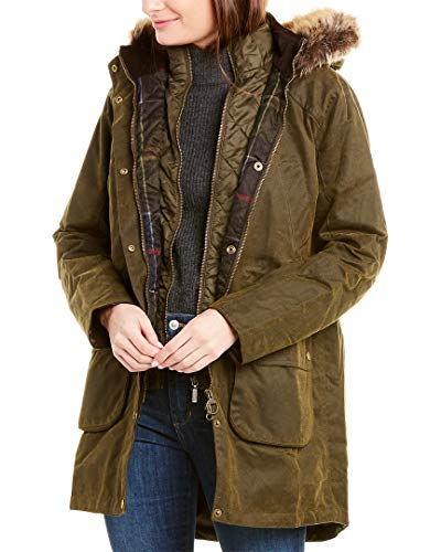 Barbour Womens Thrunton Waxed Trench Coat, 12, Green image 1